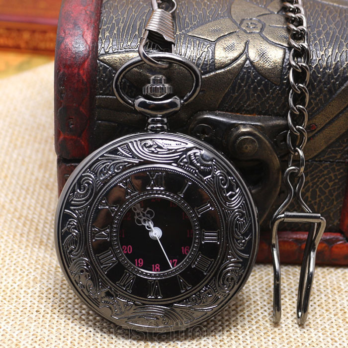 Classic Vintage Bronze Antique Retro Black Smooth White Pin Noble Pocket Watch Long Chain   Necklace P427C vintage antique bronze teapot design pocket