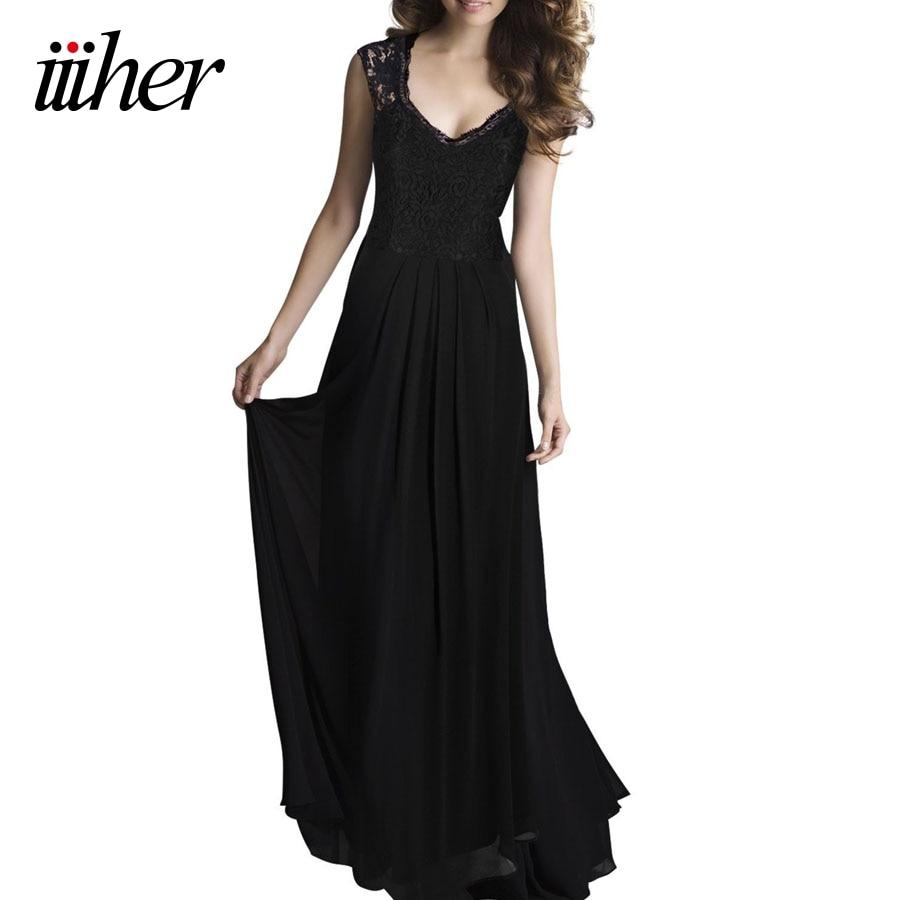 iiiher Floor Length Maxi Dress Sexy V Neck Black Lace ...
