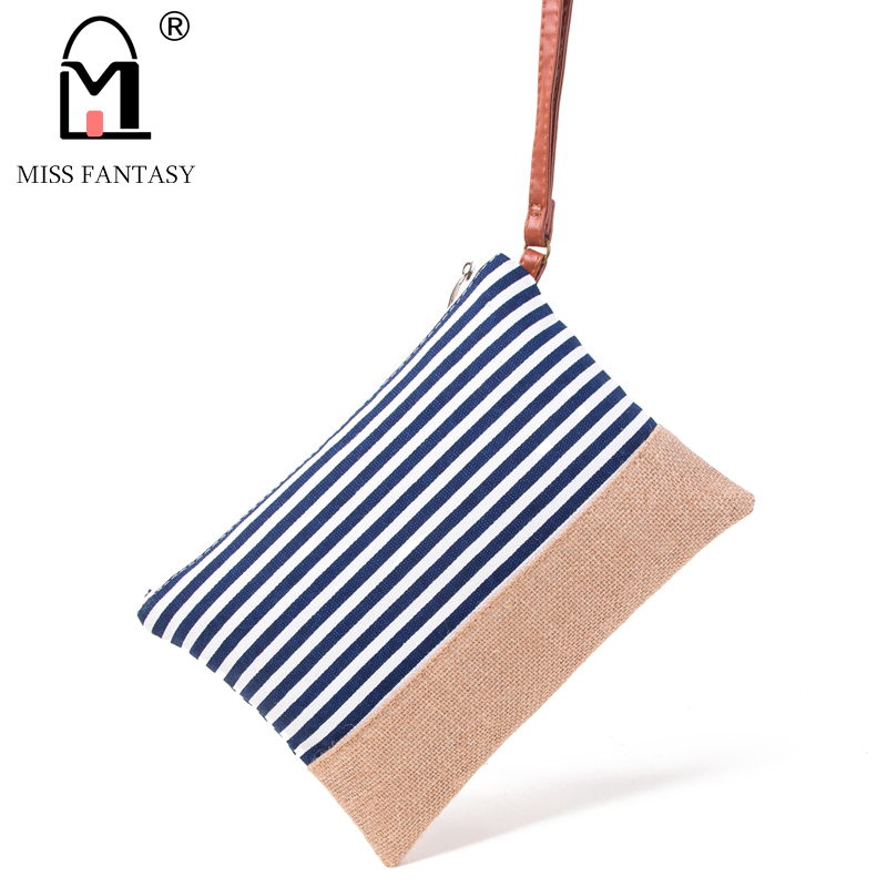 MISS FANTASY Women Cosmetic Bag Straw Fashion Stripe Printed Canvas Clutch Mini Bag Women's Pouch Summer Beach Travel Makeup Bag