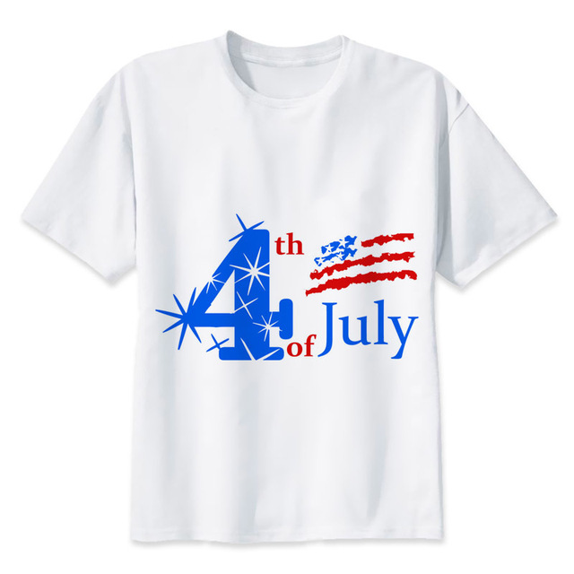 718d8cd9314f 4th July Independence Day T Shirt men Summer High Quality t-shirt casual  white print O-Neck print male men top tees MR1001