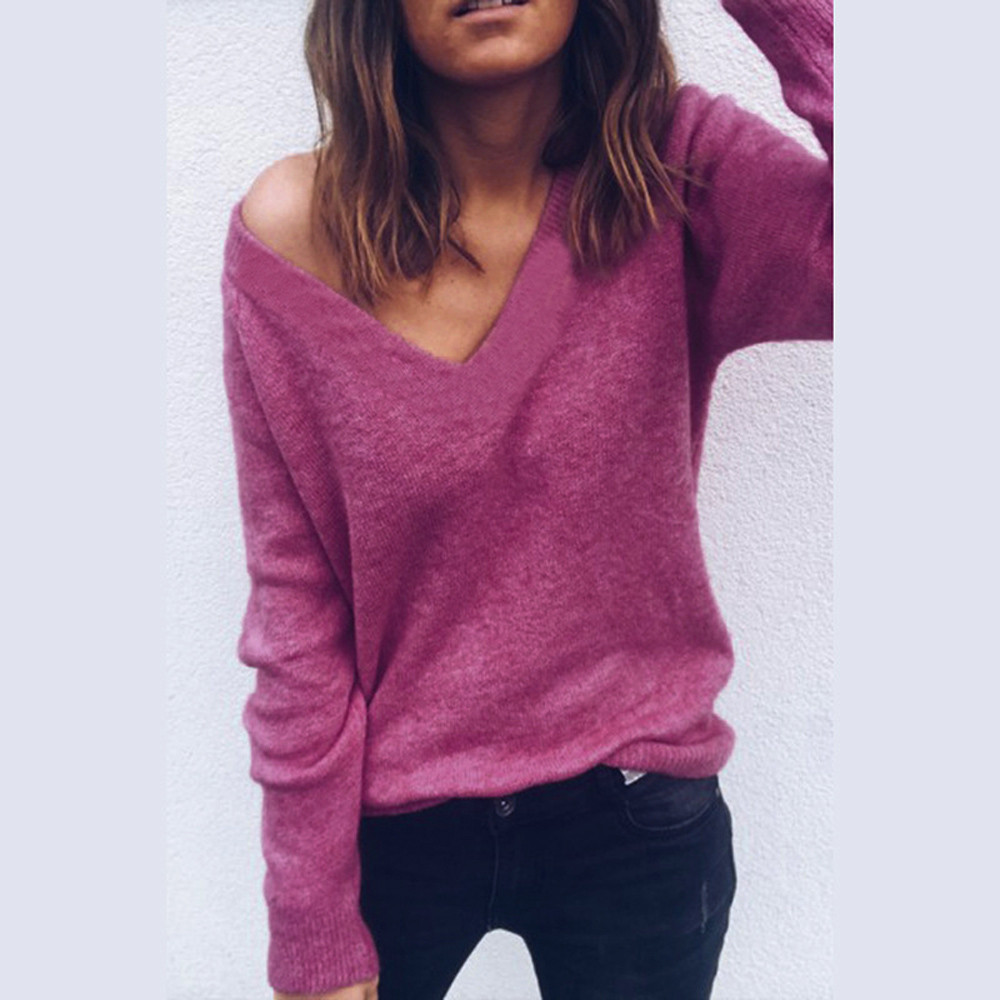 Sexy deep v neck casual loose sweater women 2019 autumn winter long sleeve knitted jumper female pullover tops Pullovers