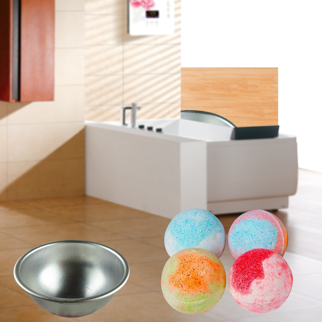5.5*2.5cm 1PC Aluminum Alloy Shallow Semicircle Bath Bomb Mini 3D Sphere Shape DIY Spa Tool Accessories Salt Ball Metal Mold