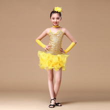 6-15 Years Children Dance Outfit (Dress, sleeves, headpiece) Sequins Girls Backless Dresses Fringe Latin Dance Costumes for Kids