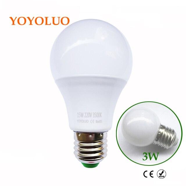 yoyoluo led lamp e27 led bulb b22 3w 5w 7w 9w 12w 15w 220v