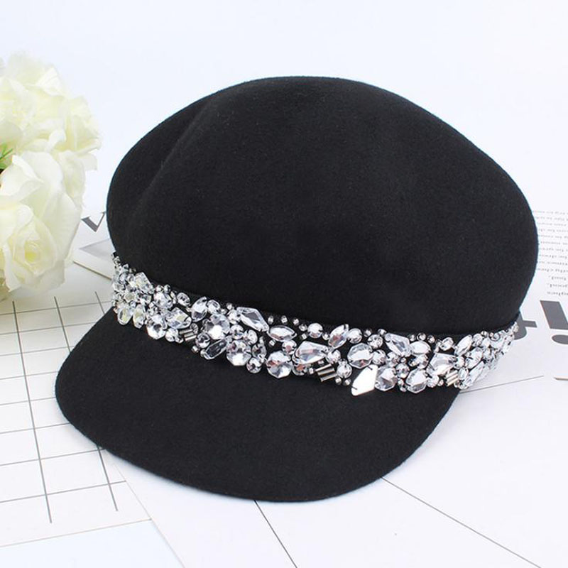 South Korean hat female qiu dong joker diamond wool hat octagonal cap British fashion warm cloth cap princess hat skullies new winter warm hat wool leather hat rabbit hair hat fashion cap fpc018
