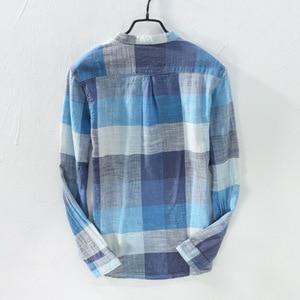 Image 2 - MOGELAISI koszule w szkocką kratę marki mężczyźni moda z długim rękawem bawełna lniana koszula wygodne miękkie człowiek wysokiej jakości jesienna odzież 731