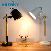 American table lamp retro loft wooden LED desk lamp reading lamp office lamp home lighting decoration