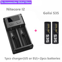 2pcs GOLISI S35 IMR 21700 3750mah CDR 30A MAX 40A E CIG rechargeable battery for VAPE with Nitecore I2 charger XTAR VC2 charger