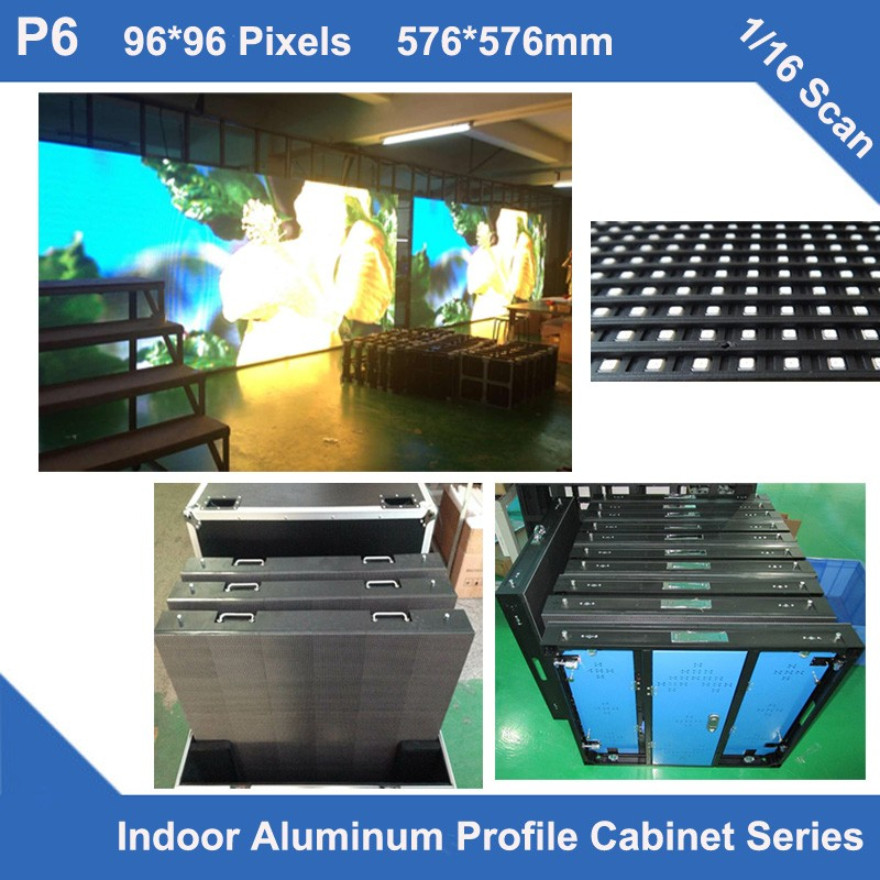 TEEHO 6pcs/lot P6 Indoor Full Color Led Display Aluminum Profile Cabinet 576mm*576mm Slim Rental 16s Panel Billboard Led Screen