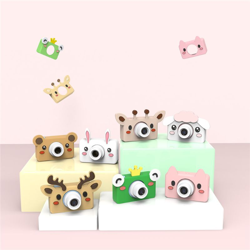 OOTDTY Cartoon Animals Kid Digital Camera 2 Inch Screen HD 8MP Silicone Soft Cover 32g Micro SD Card Brithday Gift