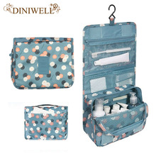 DINIWELL Unisex Blue Print Hanging Toiletry Clear Travel Storage BAG Cosmetic Carry Toiletry Organizer For Traveling Bathroom