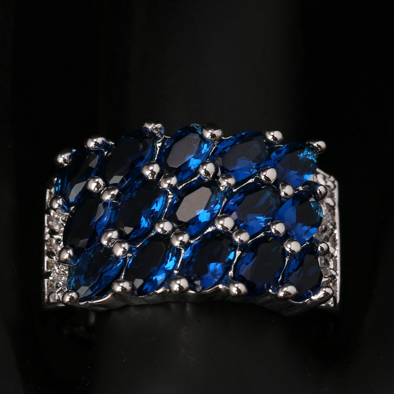 Marquise Gems Deep London Blue Onyx White Zircon 925 Sterling Silver Party Ring US# Size 6 / 7 / 8 / 9 S1547 equte rssw30c1s7 fashionable titanium steel two zircon women s ring silver white us size 7