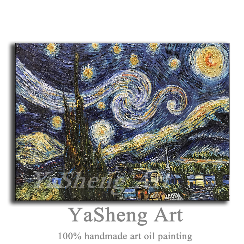 Hand painted Blue Starry Night by Vincent Van Gogh Work Abstract Oil Paintings Modern Home Wall Art For Living Room Bedroom