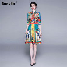 Banulin 2019 New Summer Runway Mini Dress Womens Fashion Half Sleeve Rose Flower Madonna Print Casual Party Short
