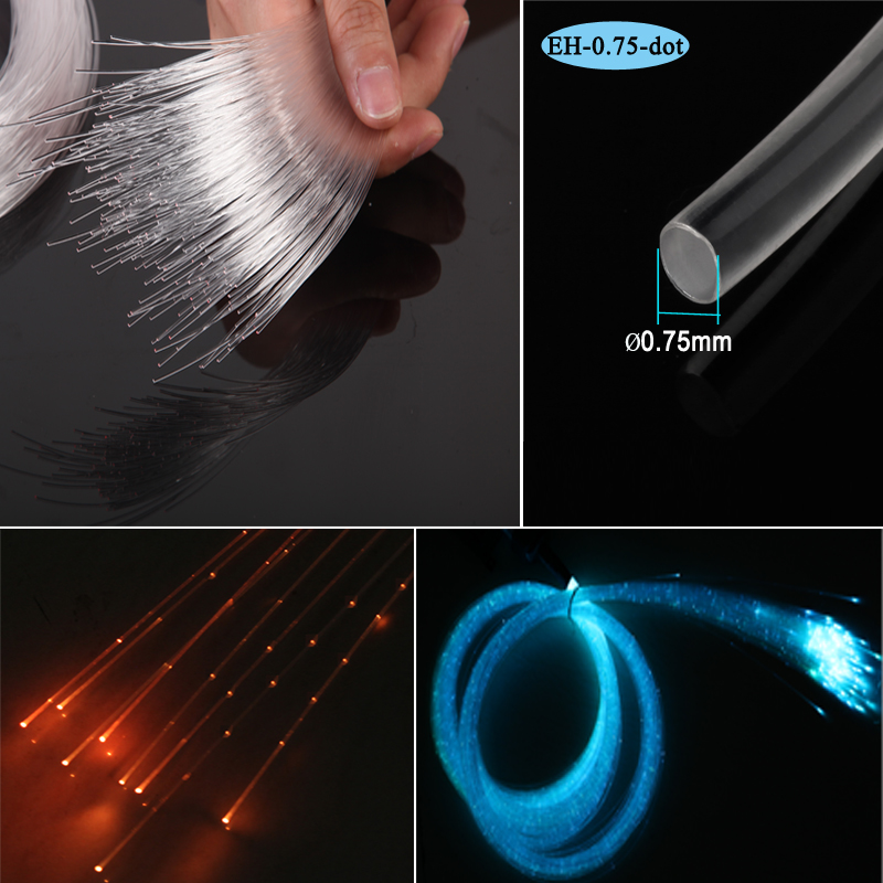 Գործարանի վաճառք 0.75 մմ շողոքորթ փայլով լուսավորող մալուխով պլաստիկ օպտիկամանրաթելային մալուխ ջրվեժի թեթև վարագույրի համար