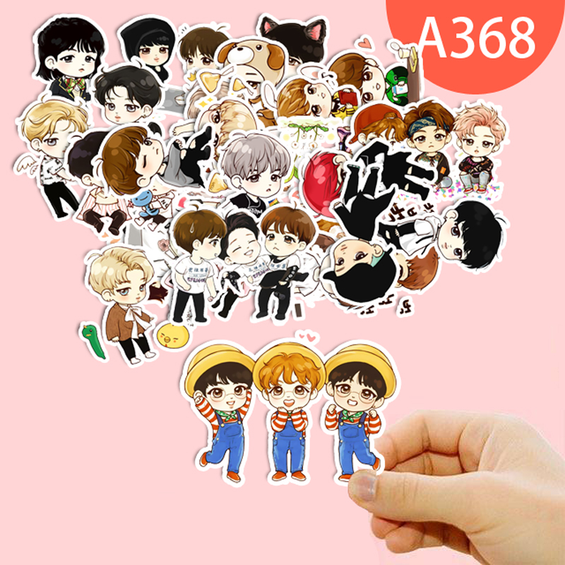 7 Kind Cute Expression BTS Stickers Youth Group Cartoon Handpainted Q Version Sticker Fo ...