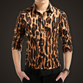 M-5XL Men's autumn male leopard print shirt stage costumes Men's Korean cotton cultivating long-sleeved shirt free shipping