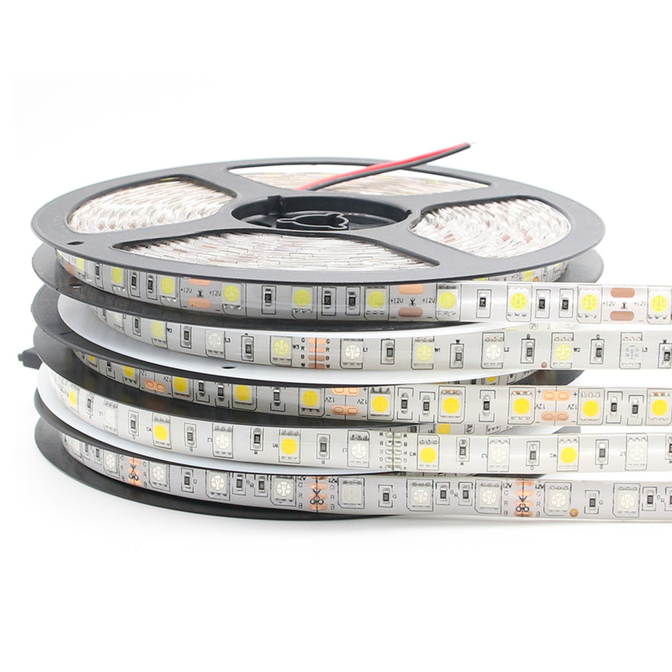 LED Strip Light 5050 RGB LLEVO la Tira Impermeabiliza los 5 M 300LED de la 12 V Fita LED Luz de Tiras Flexibles de la Cinta D