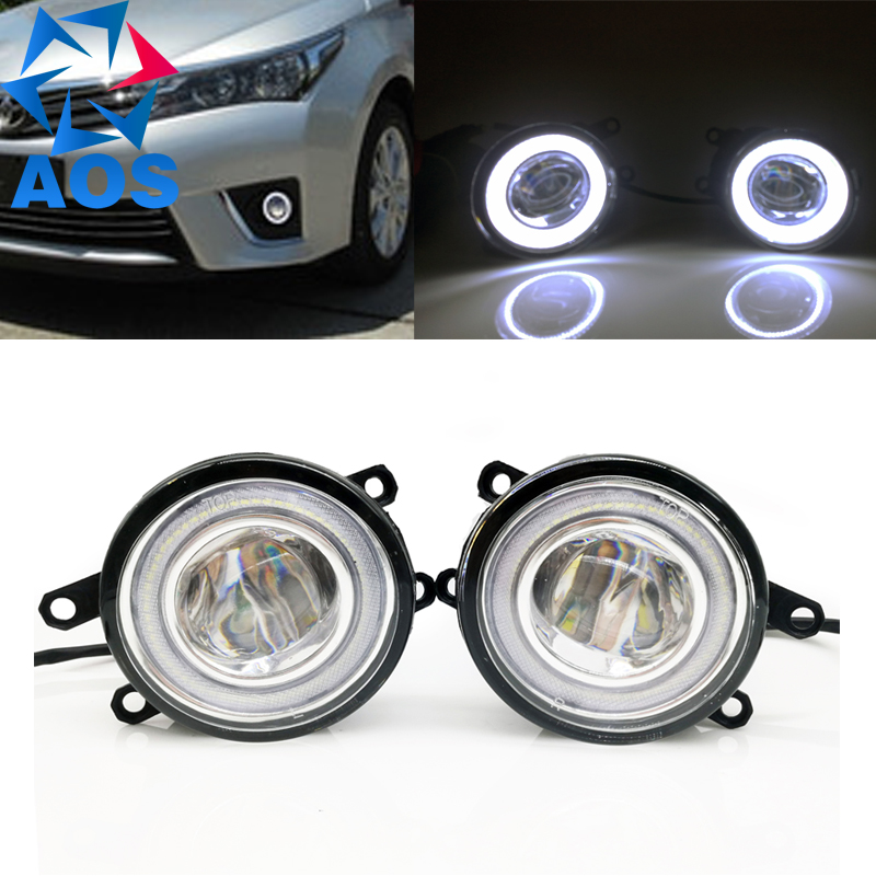 2PC Car Styling LED Angel eyes DRL LED Fog light Car Daytime Running Light for Toyota Camry Corolla RAV4 Yaris Lexus GS350 LX570 car styling fog lamp for toyota camry corolla highlander mark led fog light angel eye fog lamp led drl 3 function model