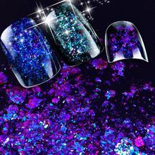 ZKO 2019 hot sell 1 box Chameleon Nail Sequins Glitter holographic powder Dust Dazzling Nails Nail Art Glitter Decorations