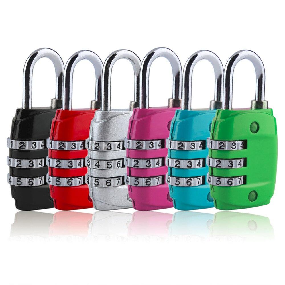 Zinc Alloy Security 3 Digit Dial Combination Code Number Lock Padlock Luggage Zipper Backpack Handbag Suitcase Drawer Padlock just lock zinc alloy travel 3 digit combination lock black silver