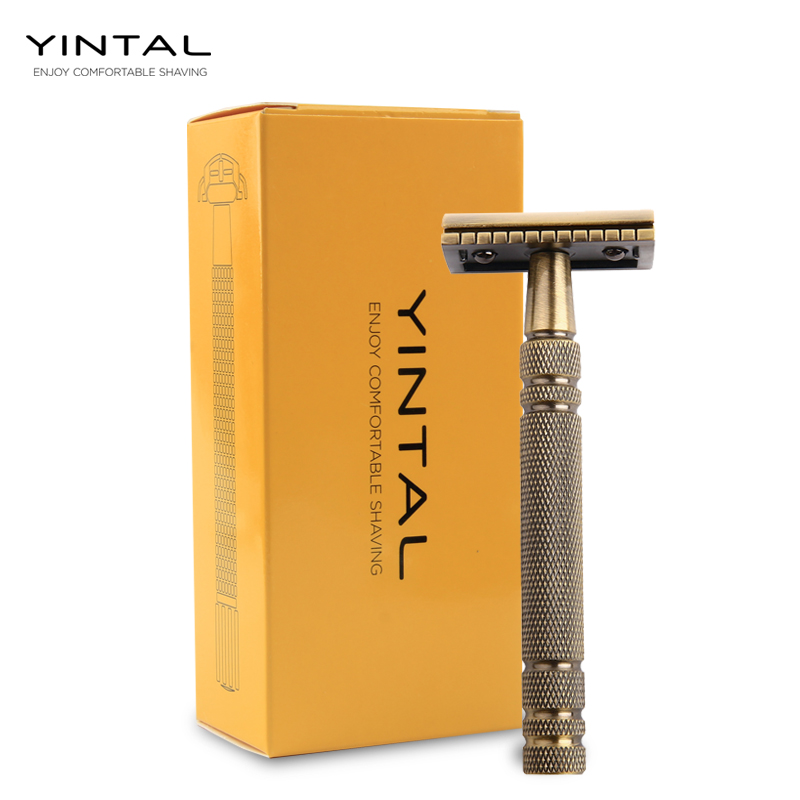 YINTAL Men's Bronze Classic Double-sided Manual Razor Long Handle Safety Razors Shaving Replaceable Classic Razors