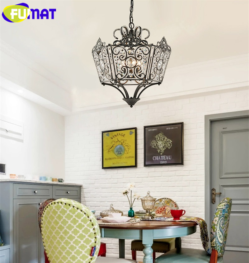 FUMAT Crystal K9 Pendant Lamps Anchor Crown Form Lights Iron Flower Crystal Clear Gold Black Lighting Body hanging light fixture 3