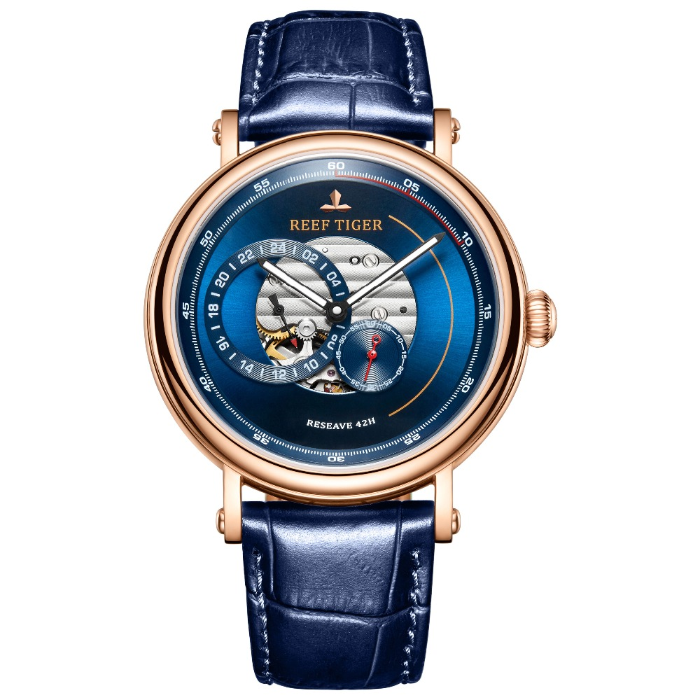 Reef Tiger RT 2019 Luxury Brand Men Designer Watches Blue Reserve Automatic Watch Fashion Strap Leather