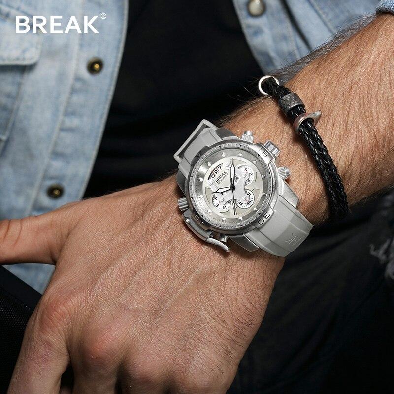 лучшая цена BREAK Calendar Big Dial Rose Gold Transformer Edition Watches Men Quartz Sport Watch 30M Waterproof Clocks Man Relogio Masculino
