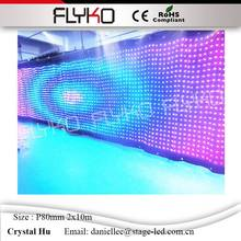 2m * 10m P80mm  led video curtain with DMX controller, LED Backdrops for wedding backdrops ,nightclub