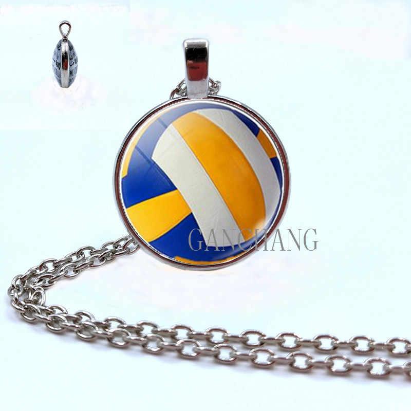 Collar de cabujón de cristal de fútbol de doble cara de voleibol de fútbol collar de béisbol joyería regalos para hombres
