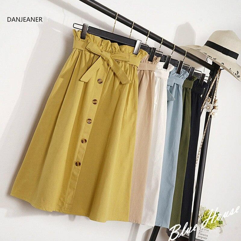 DANJEANER Summer Autumn Skirts Womens 2019 Midi Knee Length Korean Elegant Button High Waist Skirt Female Pleated School Skirts