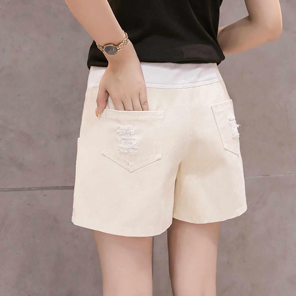 Dżinsy dla kobiet w ciąży w spodnie na lato do karmienia pas brzucha spodenki jeansowe zgrywanie spodnie do karmienia odzież ciążowa plus rozmiar 19My