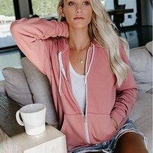 Autumn Hoodies Sweatshirt Women Solid Zipper Long Sleeve Spring Casual Hooded Coat Fashion Drawstring Pocket Hoodie Jacket Coat