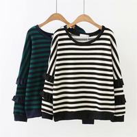 Plus size O Neck drop shoulder sleeve women sweaters pullovers 2018 ruffles green & white striped knitted ladies pull femme 4XL