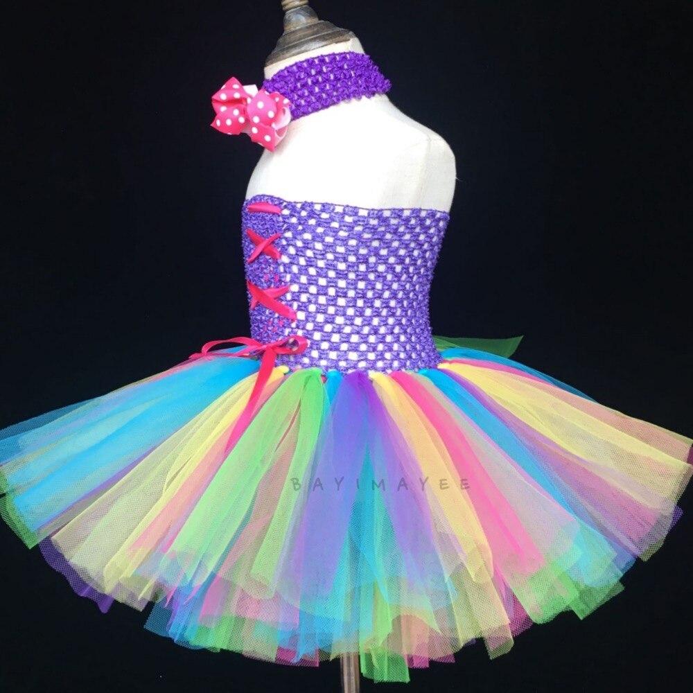1c1dabc8f4486 Arc en ciel couleur filles ruban Tutu robe bébé moelleux 2 couches Tulle  robe Ballet Tutu avec points arc bandeau enfants Corset robe de soirée dans  Robes ...