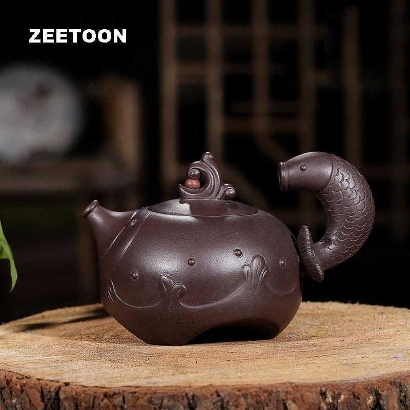 340cc Authentieke Yixing Theepot Master Fijne Sculptuur Yu Yue Lange Mannen Vis Karper Pot Paarse Klei Zwarte Goud Zand Thee Pot Thee Set Goedkoopste Prijs Van Onze Site