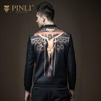 PINLI 2016 New Fall Mens Baseball Jacket Coat Collar Slim Male B163604343