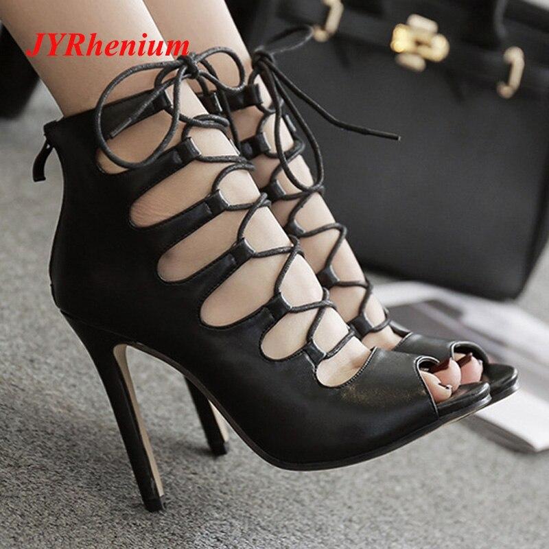 JYRhenium Brand Luxury Brand Shoes Women Sandalias Mujer 2018 New Black Cross-Strap Sexy High Heels Women Sandals Plus Size 40 недорго, оригинальная цена