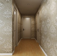 European Textured Damask Wallpaper Roll Classic Beige Light Brown Wall Coverings Home Decor For Living Room
