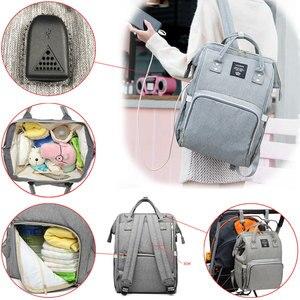 Image 4 - Сумки для подгузников Lequeen с USB интерфейсом, для мам, большие дорожные рюкзаки для младенцев, дизайнерская сумка для ухода за детьми