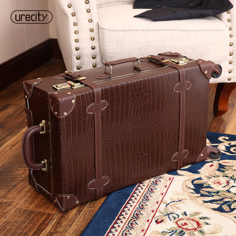 2018 New Retro Crocodile Skin Leather Luggage Bag Brown And Black Suitcase 20
