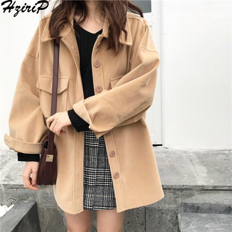 HziriP 2018 Sweet Women Autumn Winter Fashion Solid Wild Loose Preppy Style Casual Slim Pockets Comfortable Female Outwear   Coat