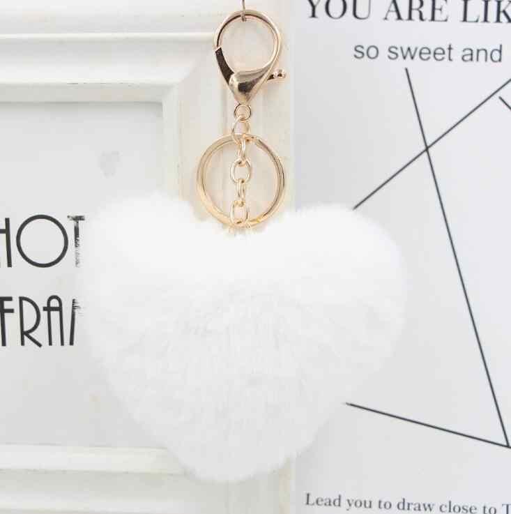 Llaveros de pompón mullido llaveros para mujer forma de corazón suave pompón conejo falso llavero bola bolsa de coche accesorios llave anillo