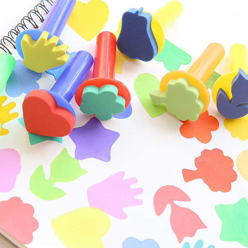 Random 5Pes Sponge Painting Brush Children's Handmade Diy Painting Graffiti Kindergarten Appliances Sponge Seal Montessori stamp