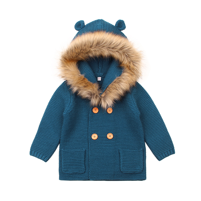 39bc0a768 2018 Winter Warm Newborn Baby Sweater Fur Hood Detachable Grey ...