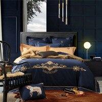 Новый Products100 % египетского хлопка роскошные Постельное белье Синяя атласная Вышивка кровать линия четырех частей Постельное белье