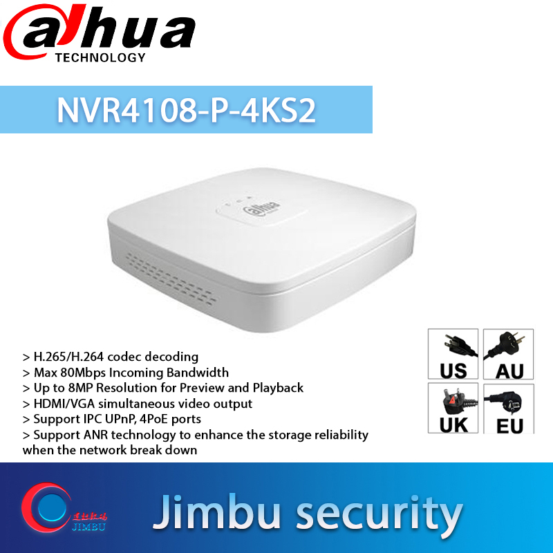 Dahua NVR4108-4KS2 H.265 8 Ch Smart 1U 4K/&H.265 Lite Network Video Recorder NVR