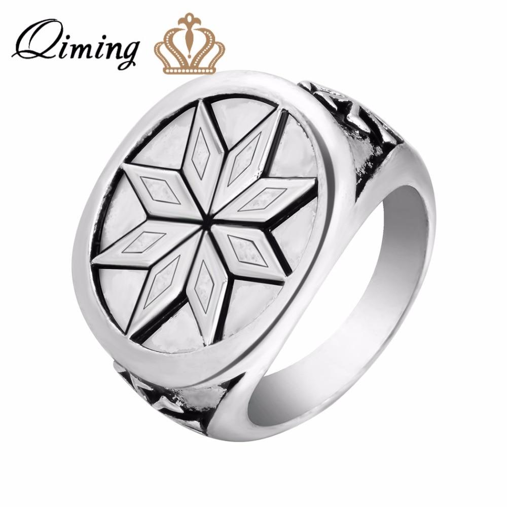QIMING Handmade Alatir Star Viking Rings Men Jewelry Signet Viking Scandinavian Jewelry Nordic Pagan Handmade Rings