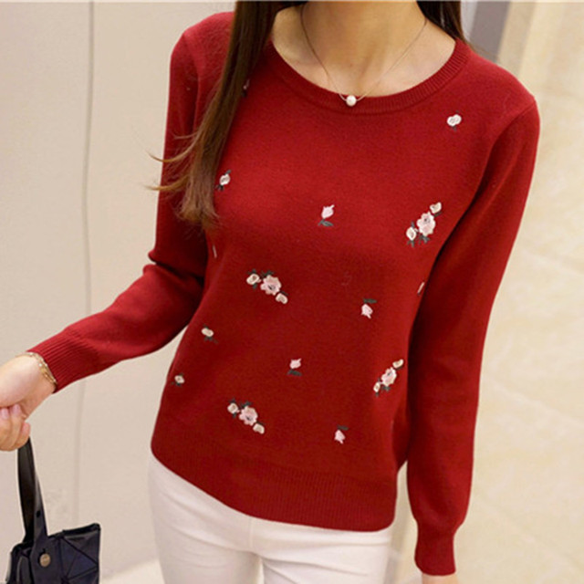 OHCLOTHING 2018 Autumn Sweater Women Embroidery Knitted Winter Women Sweater And Pullover Female Tricot Jersey Jumper Pull Femme